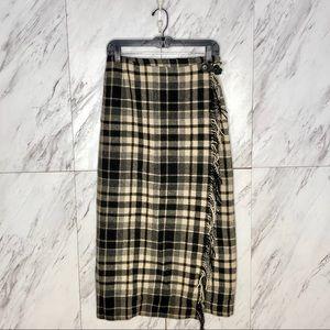 VTG Eddie Bauer Wool Plaid Fringe Blanket Skirt 8